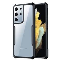 Samsung Galaxy S21 Ultra 5G用ハイブリットバンパーケース クリア透明 プラスチック 鏡面 カバー サムスン ブラック