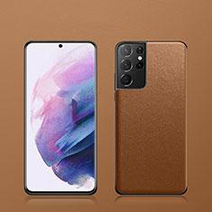 Samsung Galaxy S21 Ultra 5G用ケース 高級感 手触り良いレザー柄 S02 サムスン ブラウン