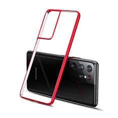 Samsung Galaxy S21 Ultra 5G用極薄ソフトケース シリコンケース 耐衝撃 全面保護 クリア透明 H01 サムスン レッド