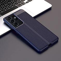 Samsung Galaxy S21 Ultra 5G用シリコンケース ソフトタッチラバー レザー柄 カバー サムスン ネイビー