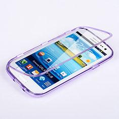 Samsung Galaxy S3 III LTE 4G用ソフトケース フルカバー クリア透明 サムスン パープル