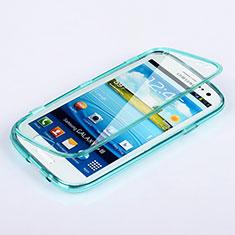 Samsung Galaxy S3 III LTE 4G用ソフトケース フルカバー クリア透明 サムスン ブルー