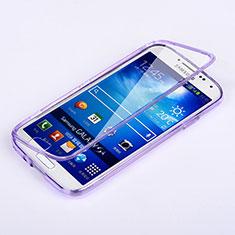 Samsung Galaxy S4 i9500 i9505用ソフトケース フルカバー クリア透明 サムスン パープル