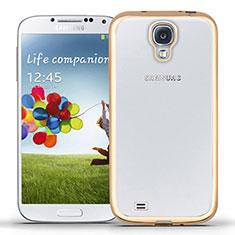 Samsung Galaxy S4 i9500 i9505用極薄ソフトケース シリコンケース 耐衝撃 全面保護 クリア透明 T02 サムスン ゴールド