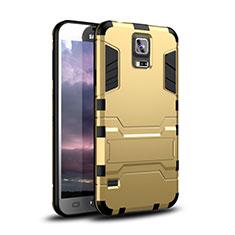 Samsung Galaxy S5 Duos Plus用ハイブリットバンパーケース スタンド プラスチック 兼シリコーン カバー サムスン ゴールド