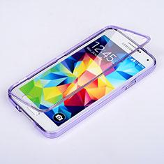 Samsung Galaxy S5 G900F G903F用ソフトケース フルカバー クリア透明 サムスン パープル