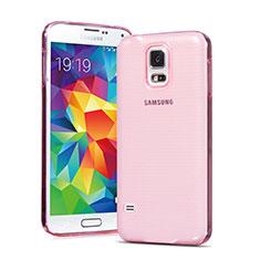Samsung Galaxy S5 G900F G903F用極薄ソフトケース シリコンケース 耐衝撃 全面保護 クリア透明 サムスン ピンク