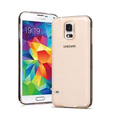 Samsung Galaxy S5 G900F G903F用極薄ソフトケース シリコンケース 耐衝撃 全面保護 クリア透明 サムスン ゴールド