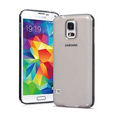 Samsung Galaxy S5 G900F G903F用極薄ソフトケース シリコンケース 耐衝撃 全面保護 クリア透明 サムスン グレー