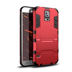 Samsung Galaxy S5 G900F G903F用ハイブリットバンパーケース スタンド プラスチック 兼シリコーン カバー サムスン レッド