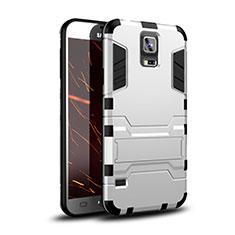 Samsung Galaxy S5 G900F G903F用ハイブリットバンパーケース スタンド プラスチック 兼シリコーン カバー サムスン ホワイト