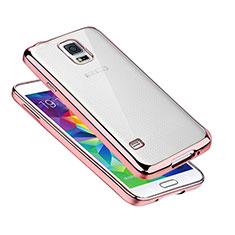 Samsung Galaxy S5 G900F G903F用極薄ソフトケース シリコンケース 耐衝撃 全面保護 クリア透明 H01 サムスン ローズゴールド