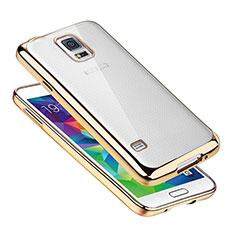 Samsung Galaxy S5 G900F G903F用極薄ソフトケース シリコンケース 耐衝撃 全面保護 クリア透明 H01 サムスン ゴールド