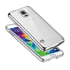 Samsung Galaxy S5 G900F G903F用極薄ソフトケース シリコンケース 耐衝撃 全面保護 クリア透明 H01 サムスン シルバー