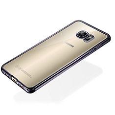 Samsung Galaxy S6 Edge+ Plus SM-G928F用極薄ソフトケース シリコンケース 耐衝撃 全面保護 クリア透明 S01 サムスン ブラック