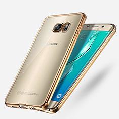 Samsung Galaxy S6 Edge+ Plus SM-G928F用極薄ソフトケース シリコンケース 耐衝撃 全面保護 クリア透明 T03 サムスン ゴールド