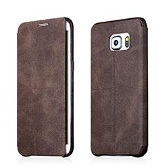 Samsung Galaxy S6 Edge+ Plus SM-G928F用手帳型 レザーケース スタンド サムスン ブラウン