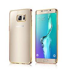 Samsung Galaxy S6 Edge SM-G925用バンパーケース クリア透明 サムスン ゴールド