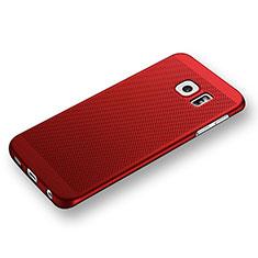Samsung Galaxy S6 Edge SM-G925用ハードケース プラスチック メッシュ デザイン サムスン レッド