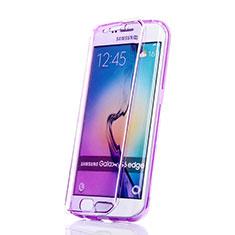 Samsung Galaxy S6 Edge SM-G925用ソフトケース フルカバー クリア透明 サムスン パープル