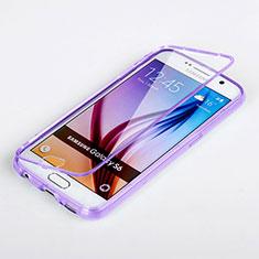 Samsung Galaxy S6 SM-G920用ソフトケース フルカバー クリア透明 サムスン パープル