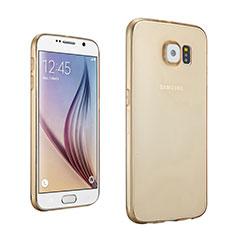 Samsung Galaxy S6 SM-G920用極薄ソフトケース シリコンケース 耐衝撃 全面保護 クリア透明 サムスン ゴールド