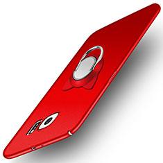 Samsung Galaxy S6 SM-G920用ハードケース プラスチック 質感もマット アンド指輪 マグネット式 サムスン レッド