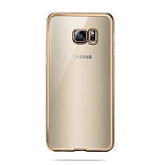 Samsung Galaxy S6 SM-G920用極薄ソフトケース シリコンケース 耐衝撃 全面保護 クリア透明 T04 サムスン ゴールド