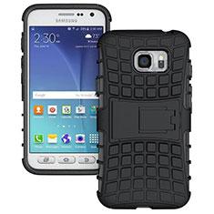 Samsung Galaxy S7 Active G891A用ハイブリットバンパーケース スタンド プラスチック 兼シリコーン サムスン ブラック