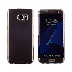 Samsung Galaxy S7 Edge G935F用ソフトケース フルカバー クリア透明 フリップ サムスン グレー
