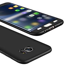 Samsung Galaxy S7 Edge G935F用ハードケース プラスチック 質感もマット 前面と背面 360度 フルカバー M01 サムスン ブラック