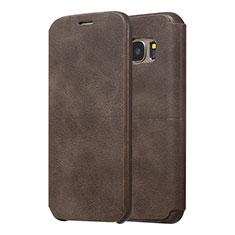 Samsung Galaxy S7 Edge G935F用手帳型 レザーケース スタンド カバー サムスン ブラウン
