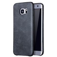 Samsung Galaxy S7 Edge G935F用ケース 高級感 手触り良いレザー柄 サムスン ブラック