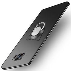 Samsung Galaxy S7 Edge G935F用ハードケース プラスチック 質感もマット アンド指輪 マグネット式 サムスン ブラック