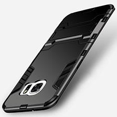 Samsung Galaxy S7 Edge G935F用ハイブリットバンパーケース スタンド プラスチック 兼シリコーン サムスン ブラック