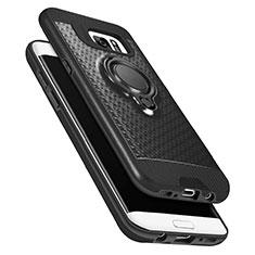 Samsung Galaxy S7 Edge G935F用極薄ソフトケース シリコンケース 耐衝撃 全面保護 アンド指輪 マグネット式 A02 サムスン ブラック
