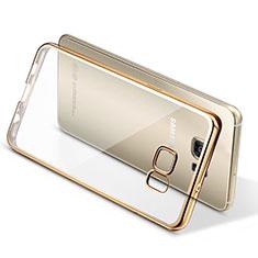 Samsung Galaxy S7 Edge G935F用極薄ソフトケース シリコンケース 耐衝撃 全面保護 クリア透明 T06 サムスン ゴールド