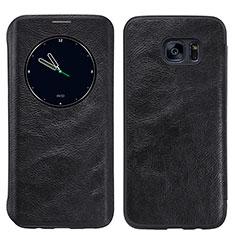 Samsung Galaxy S7 Edge G935F用手帳型 レザーケース スタンド L02 サムスン ブラック