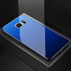 Samsung Galaxy S7 Edge G935F用ハイブリットバンパーケース プラスチック 鏡面 虹 グラデーション 勾配色 カバー サムスン ネイビー