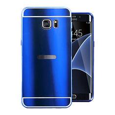 Samsung Galaxy S7 Edge G935F用ケース 高級感 手触り良い アルミメタル 製の金属製 カバー サムスン ネイビー