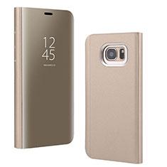 Samsung Galaxy S7 Edge G935F用手帳型 レザーケース スタンド 鏡面 カバー サムスン ゴールド
