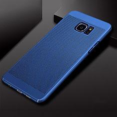 Samsung Galaxy S7 Edge G935F用ハードケース プラスチック メッシュ デザイン カバー サムスン ネイビー
