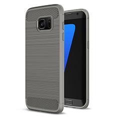 Samsung Galaxy S7 Edge G935F用シリコンケース ソフトタッチラバー ライン カバー サムスン グレー