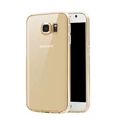 Samsung Galaxy S7 G930F G930FD用極薄ソフトケース シリコンケース 耐衝撃 全面保護 クリア透明 サムスン ゴールド