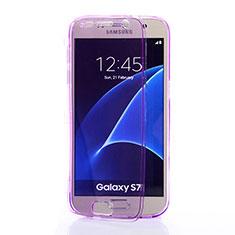 Samsung Galaxy S7 G930F G930FD用ソフトケース フルカバー クリア透明 サムスン パープル