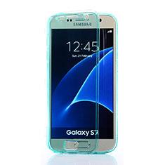 Samsung Galaxy S7 G930F G930FD用ソフトケース フルカバー クリア透明 サムスン ブルー