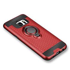 Samsung Galaxy S7 G930F G930FD用極薄ソフトケース シリコンケース 耐衝撃 全面保護 アンド指輪 マグネット式 バンパー サムスン レッド
