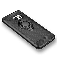 Samsung Galaxy S7 G930F G930FD用極薄ソフトケース シリコンケース 耐衝撃 全面保護 アンド指輪 マグネット式 バンパー サムスン ブラック
