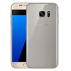 Samsung Galaxy S7 G930F G930FD用極薄ソフトケース シリコンケース 耐衝撃 全面保護 クリア透明 H01 サムスン グレー