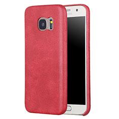 Samsung Galaxy S7 G930F G930FD用ケース 高級感 手触り良いレザー柄 サムスン レッド